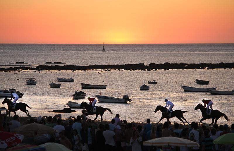 Los caballos corren por el hipódromo natural de la playa sanluqueña, dos kilómetros de arena con bellas estampas al atarceder. Foto: JC Sánchez