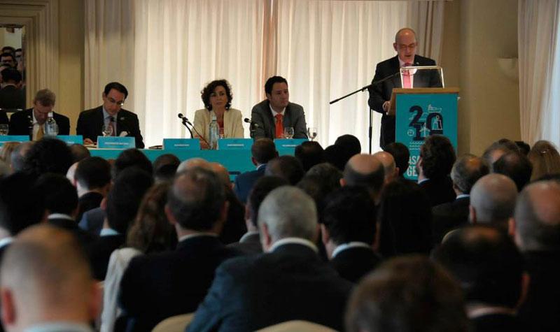 Javier Sánchez Rojas, durante su intervención en la asamblea