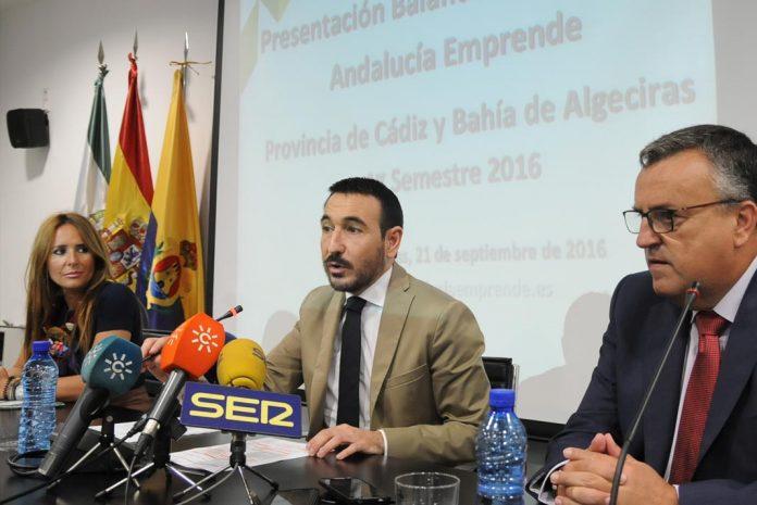 Fernando López Gil, delegado en Cádiz de la Junta, y Gema Pérez, delegada de Economía, presentaron los datos.
